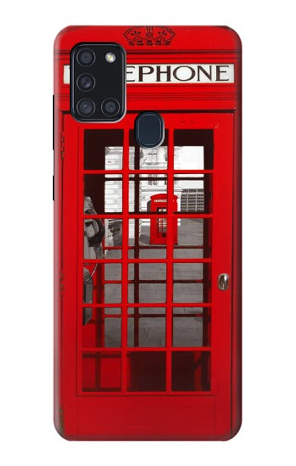 S0058 ロンドン〔イギリス〕の赤い電話ボックス Classic British Red Telephone Box Samsung Galaxy A21s バックケース、フリップケース・カバー