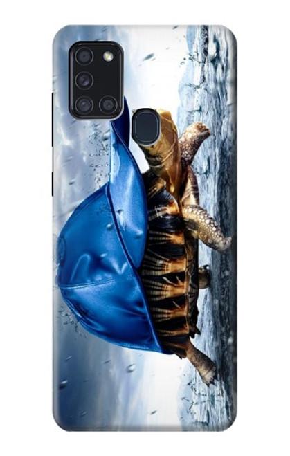 S0084 雨でかめ Turtle in the Rain Samsung Galaxy A21s バックケース、フリップケース・カバー
