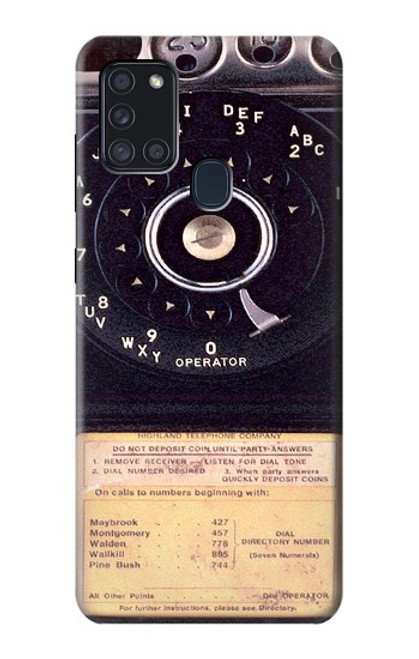 S0086 ヴィンテージ 公衆電話 Payphone Vintage Samsung Galaxy A21s バックケース、フリップケース・カバー