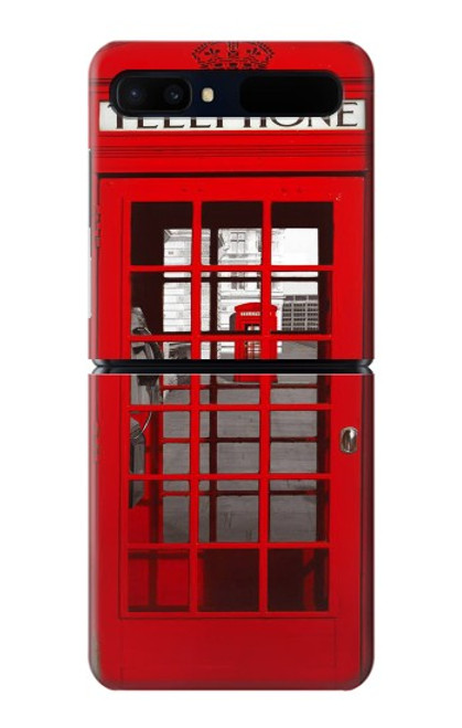S0058 ロンドン〔イギリス〕の赤い電話ボックス Classic British Red Telephone Box Samsung Galaxy Z Flip 5G バックケース、フリップケース・カバー