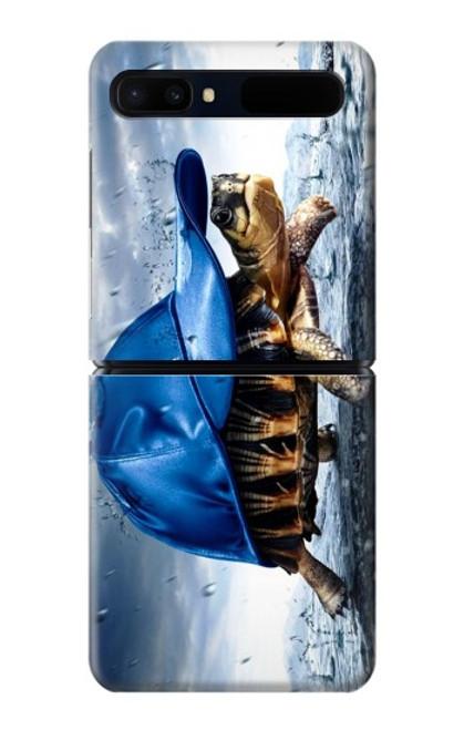 S0084 雨でかめ Turtle in the Rain Samsung Galaxy Z Flip 5G バックケース、フリップケース・カバー