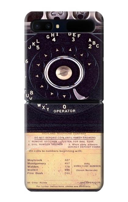 S0086 ヴィンテージ 公衆電話 Payphone Vintage Samsung Galaxy Z Flip 5G バックケース、フリップケース・カバー