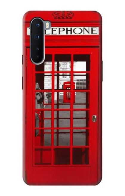 S0058 ロンドン〔イギリス〕の赤い電話ボックス Classic British Red Telephone Box OnePlus Nord バックケース、フリップケース・カバー