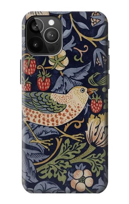 S3791 ウィリアムモリスストロベリーシーフ生地 William Morris Strawberry Thief Fabric iPhone 12 Pro Max バックケース、フリップケース・カバー
