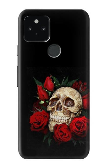 S3753 ダークゴシックゴススカルローズ Dark Gothic Goth Skull Roses Google Pixel 5 バックケース、フリップケース・カバー