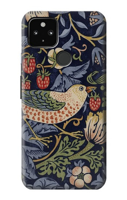 S3791 ウィリアムモリスストロベリーシーフ生地 William Morris Strawberry Thief Fabric Google Pixel 4a 5G バックケース、フリップケース・カバー