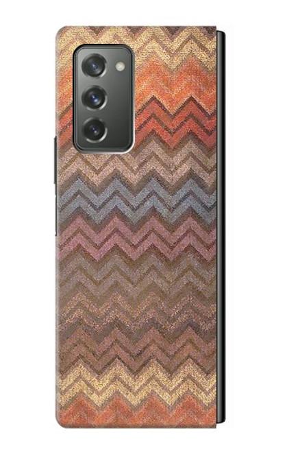 S3752 ジグザグ生地パターングラフィックプリント Zigzag Fabric Pattern Graphic Printed Samsung Galaxy Z Fold2 5G バックケース、フリップケース・カバー