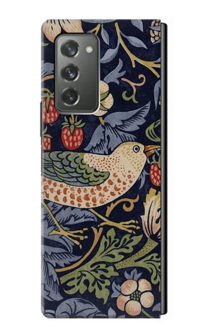 S3791 ウィリアムモリスストロベリーシーフ生地 William Morris Strawberry Thief Fabric Samsung Galaxy Z Fold2 5G バックケース、フリップケース・カバー