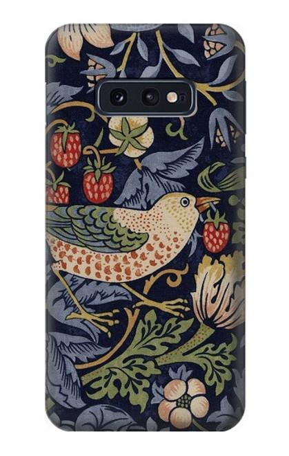S3791 ウィリアムモリスストロベリーシーフ生地 William Morris Strawberry Thief Fabric Samsung Galaxy S10e バックケース、フリップケース・カバー