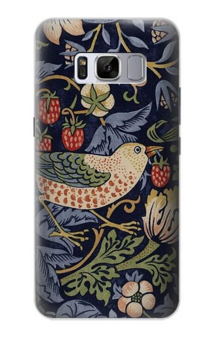 S3791 ウィリアムモリスストロベリーシーフ生地 William Morris Strawberry Thief Fabric Samsung Galaxy S8 Plus バックケース、フリップケース・カバー