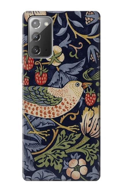 S3791 ウィリアムモリスストロベリーシーフ生地 William Morris Strawberry Thief Fabric Samsung Galaxy Note 20 バックケース、フリップケース・カバー
