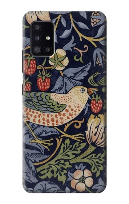 S3791 ウィリアムモリスストロベリーシーフ生地 William Morris Strawberry Thief Fabric Samsung Galaxy A41 バックケース、フリップケース・カバー