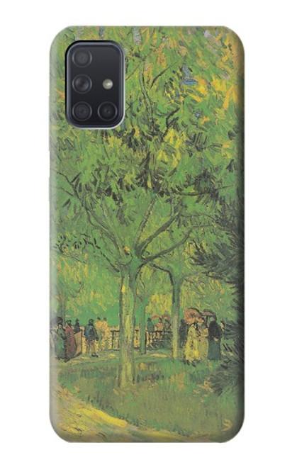 S3748 フィンセント・ファン・ゴッホ パブリックガーデンの車線 Van Gogh A Lane in a Public Garden Samsung Galaxy A71 バックケース、フリップケース・カバー