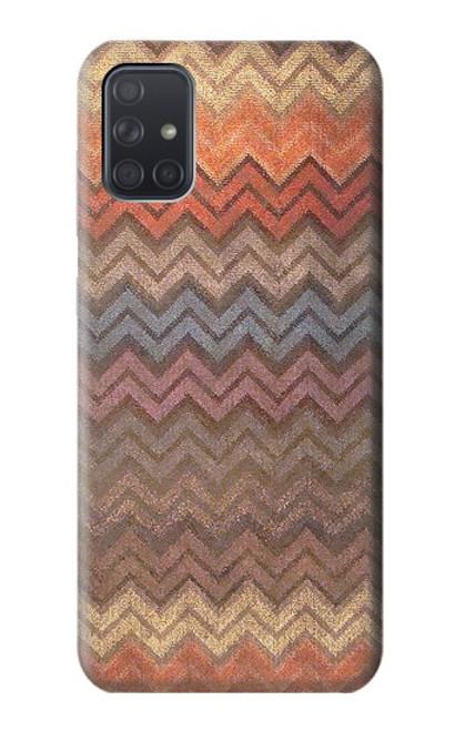 S3752 ジグザグ生地パターングラフィックプリント Zigzag Fabric Pattern Graphic Printed Samsung Galaxy A71 バックケース、フリップケース・カバー