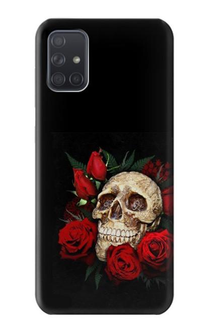 S3753 ダークゴシックゴススカルローズ Dark Gothic Goth Skull Roses Samsung Galaxy A71 バックケース、フリップケース・カバー