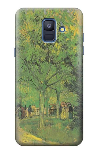 S3748 フィンセント・ファン・ゴッホ パブリックガーデンの車線 Van Gogh A Lane in a Public Garden Samsung Galaxy A6 (2018) バックケース、フリップケース・カバー