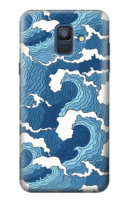 S3751 波のパターン Wave Pattern Samsung Galaxy A6 (2018) バックケース、フリップケース・カバー