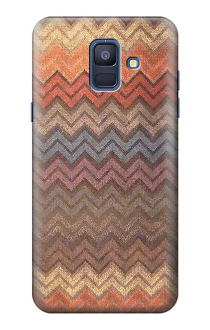 S3752 ジグザグ生地パターングラフィックプリント Zigzag Fabric Pattern Graphic Printed Samsung Galaxy A6 (2018) バックケース、フリップケース・カバー