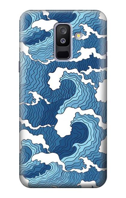 S3751 波のパターン Wave Pattern Samsung Galaxy A6+ (2018), J8 Plus 2018, A6 Plus 2018  バックケース、フリップケース・カバー