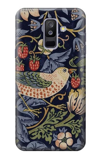 S3791 ウィリアムモリスストロベリーシーフ生地 William Morris Strawberry Thief Fabric Samsung Galaxy A6+ (2018), J8 Plus 2018, A6 Plus 2018  バックケース、フリップケース・カバー