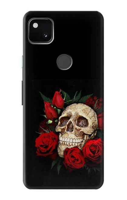 S3753 ダークゴシックゴススカルローズ Dark Gothic Goth Skull Roses Google Pixel 4a バックケース、フリップケース・カバー
