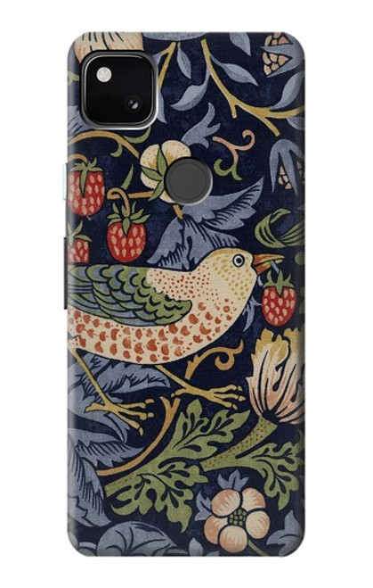 S3791 ウィリアムモリスストロベリーシーフ生地 William Morris Strawberry Thief Fabric Google Pixel 4a バックケース、フリップケース・カバー