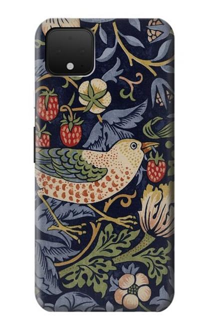 S3791 ウィリアムモリスストロベリーシーフ生地 William Morris Strawberry Thief Fabric Google Pixel 4 XL バックケース、フリップケース・カバー