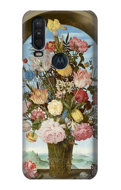 S3749 花瓶 Vase of Flowers Motorola One Action (Moto P40 Power) バックケース、フリップケース・カバー