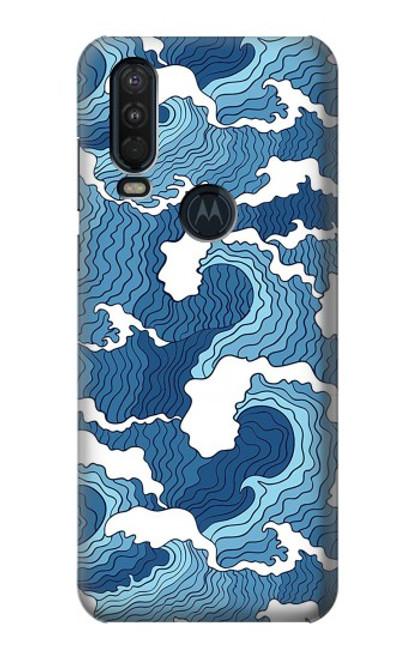 S3751 波のパターン Wave Pattern Motorola One Action (Moto P40 Power) バックケース、フリップケース・カバー