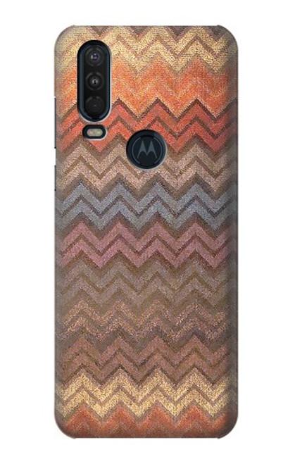S3752 ジグザグ生地パターングラフィックプリント Zigzag Fabric Pattern Graphic Printed Motorola One Action (Moto P40 Power) バックケース、フリップケース・カバー