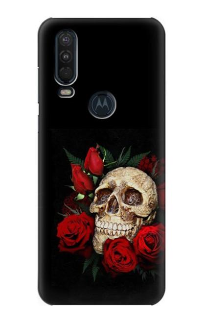 S3753 ダークゴシックゴススカルローズ Dark Gothic Goth Skull Roses Motorola One Action (Moto P40 Power) バックケース、フリップケース・カバー