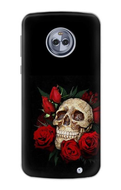 S3753 ダークゴシックゴススカルローズ Dark Gothic Goth Skull Roses Motorola Moto X4 バックケース、フリップケース・カバー