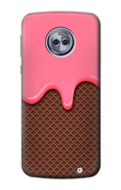 S3754 ストロベリーアイスクリームコーン Strawberry Ice Cream Cone Motorola Moto X4 バックケース、フリップケース・カバー