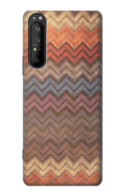 S3752 ジグザグ生地パターングラフィックプリント Zigzag Fabric Pattern Graphic Printed Sony Xperia 1 II バックケース、フリップケース・カバー