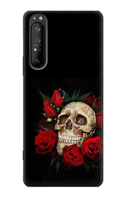 S3753 ダークゴシックゴススカルローズ Dark Gothic Goth Skull Roses Sony Xperia 1 II バックケース、フリップケース・カバー