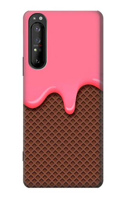 S3754 ストロベリーアイスクリームコーン Strawberry Ice Cream Cone Sony Xperia 1 II バックケース、フリップケース・カバー