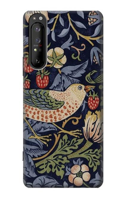 S3791 ウィリアムモリスストロベリーシーフ生地 William Morris Strawberry Thief Fabric Sony Xperia 1 II バックケース、フリップケース・カバー