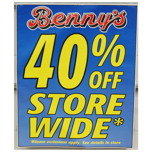 "Benny's 40% off 36""x44'"