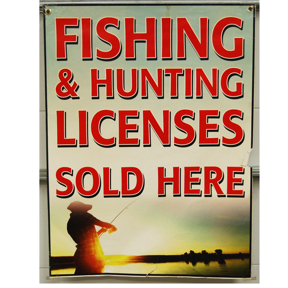 "Benny's Fishing Hunting License 30""x40"""