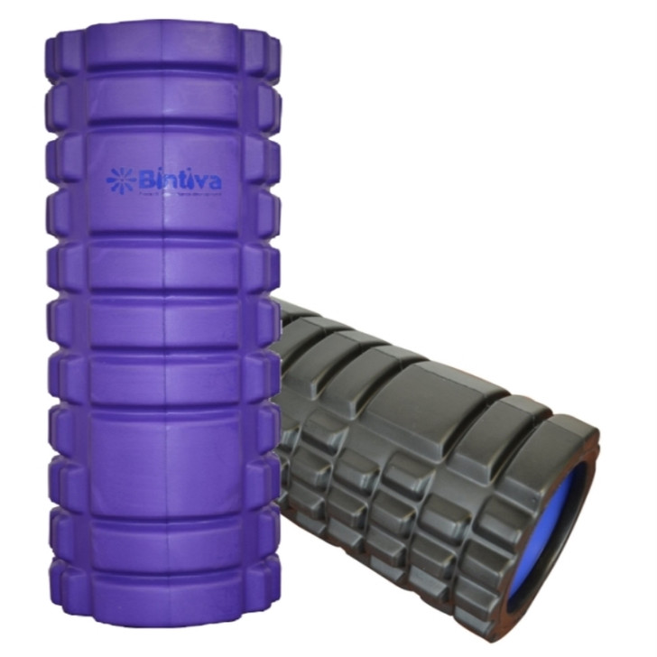 Bintiva Hollow Foam Roller - Black and Blue