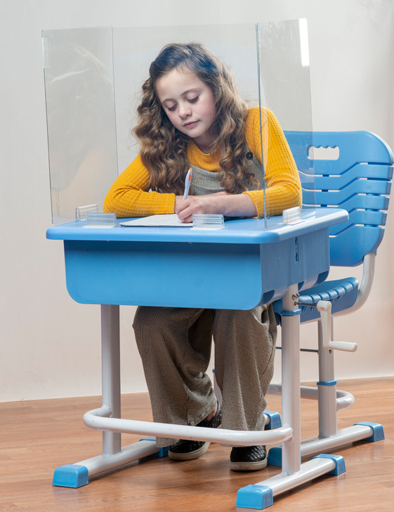 Portable Protective Desk Shield - Clear PET Material for Use as a Divider in Classrooms