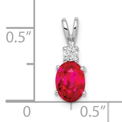 14kwg 1.10ct oval ruby 0.052ct diamond pendant