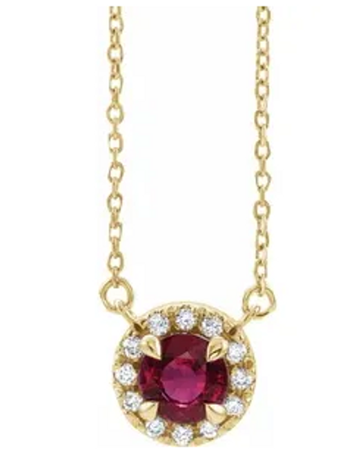 """14kyg 5mm round ruby 1/10cttw diamond halo necklace 16"""""""