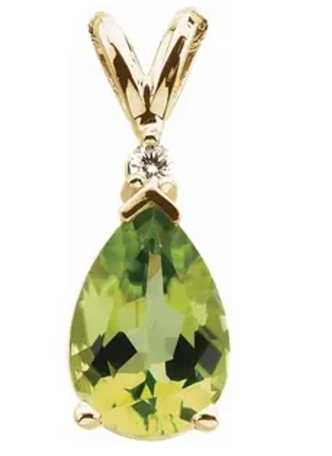 14kyg 10x7mm pear shaped Peridot/0.04ct diamond pendant