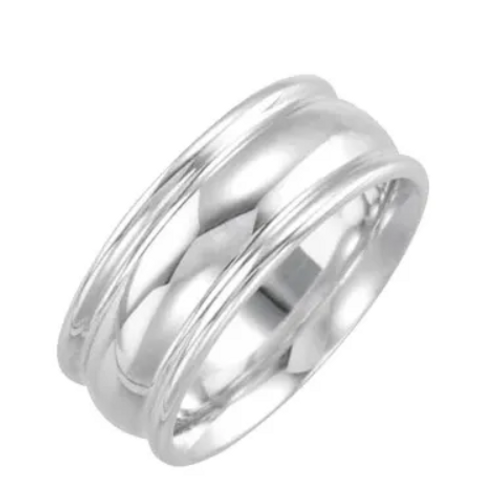 SS 8mm grooved wedding band