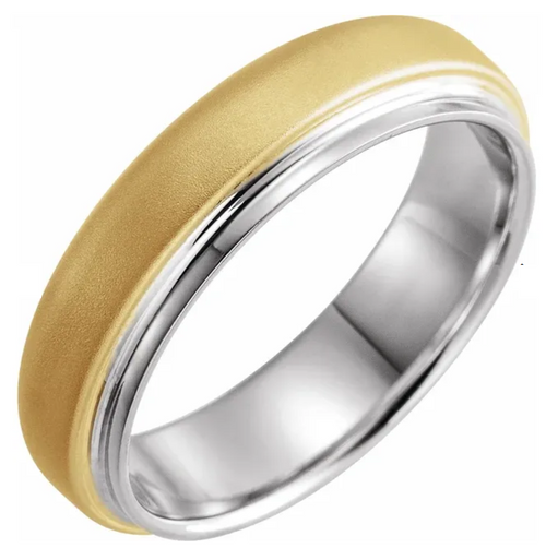 14K White & Yellow 6 mm Edged Band with Brushed Finish