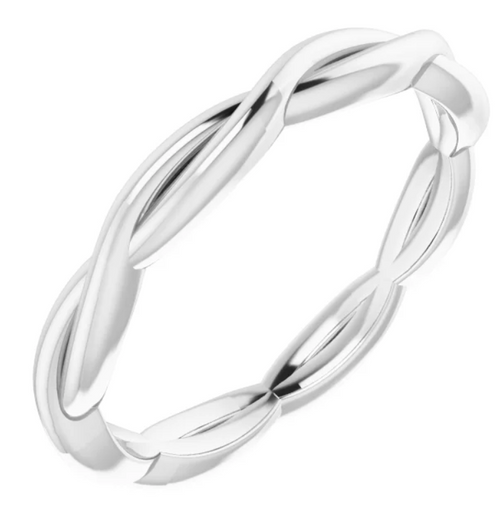 14K White 2.2 mm Woven-Design Band Size 7