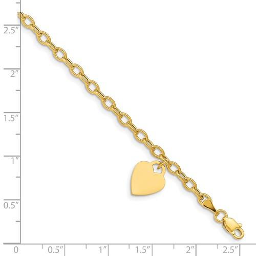 """14kyg dangle heart bracelet 7.5"""""""