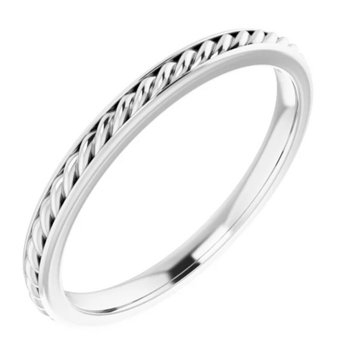 14K White 2 mm Rope Band Size 7