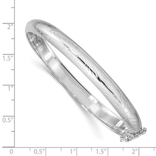 SS fancy engraved pattern hinged bangle bracelet